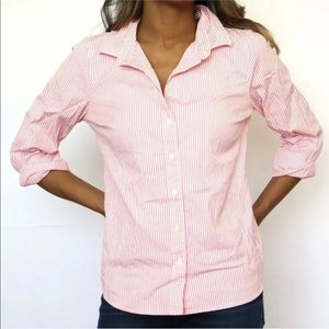 J.CREW Haberdashery Pink White Striped Dress Shirt
